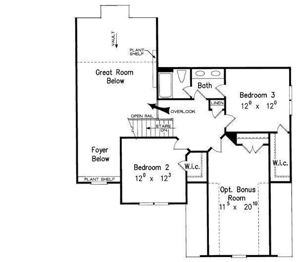 Traditional Floor Plan - Upper Floor Plan Plan #927-10