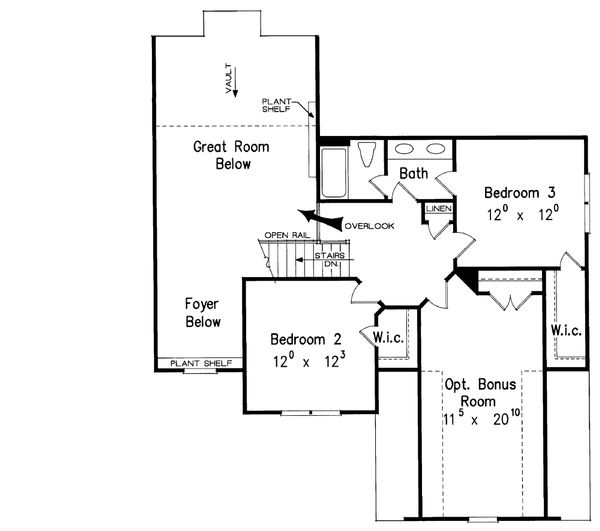 Traditional Floor Plan - Upper Floor Plan #927-10