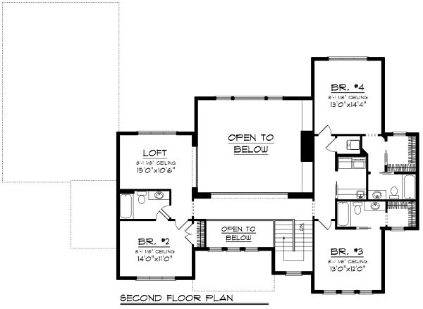 Traditional Floor Plan - Upper Floor Plan Plan #70-1184