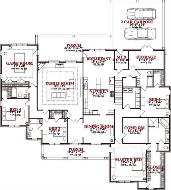 Traditional Floor Plan - Main Floor Plan Plan #63-268