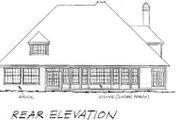 European Style House Plan - 4 Beds 3.5 Baths 3844 Sq/Ft Plan #20-231 Exterior - Rear Elevation