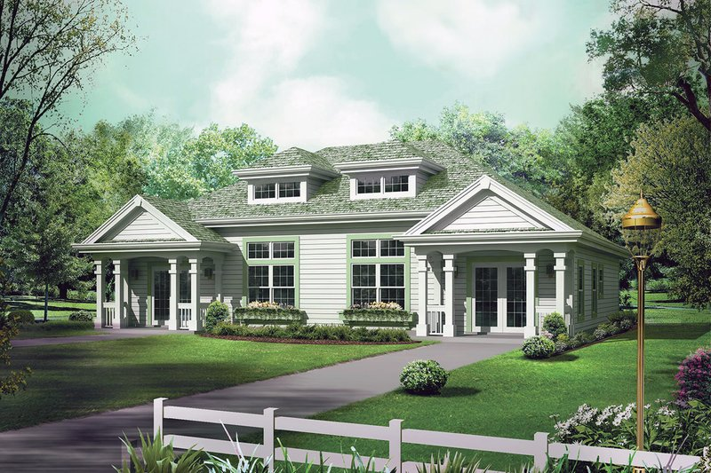 Architectural House Design - Country Exterior - Front Elevation Plan #57-683