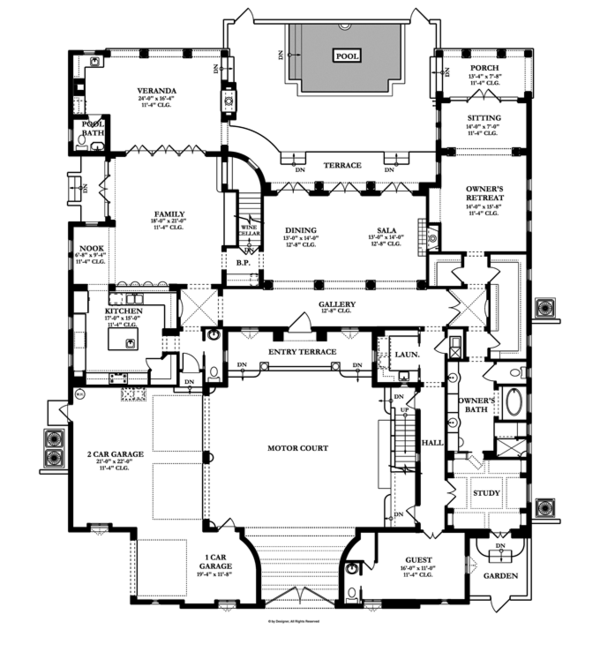 Mediterranean Floor Plan - Main Floor Plan Plan #1058-17