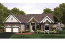 Ranch Exterior - Front Elevation Plan #1010-32