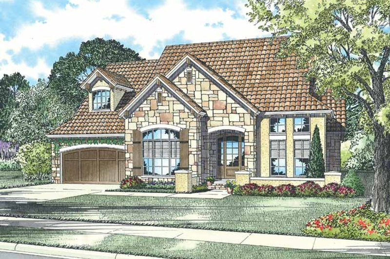 Mediterranean Exterior - Front Elevation Plan #17-2929