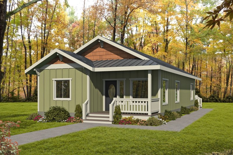 Bungalow Style House Plan - 2 Beds 1 Baths 1222 Sq/Ft Plan #117-909 Exterior - Front Elevation