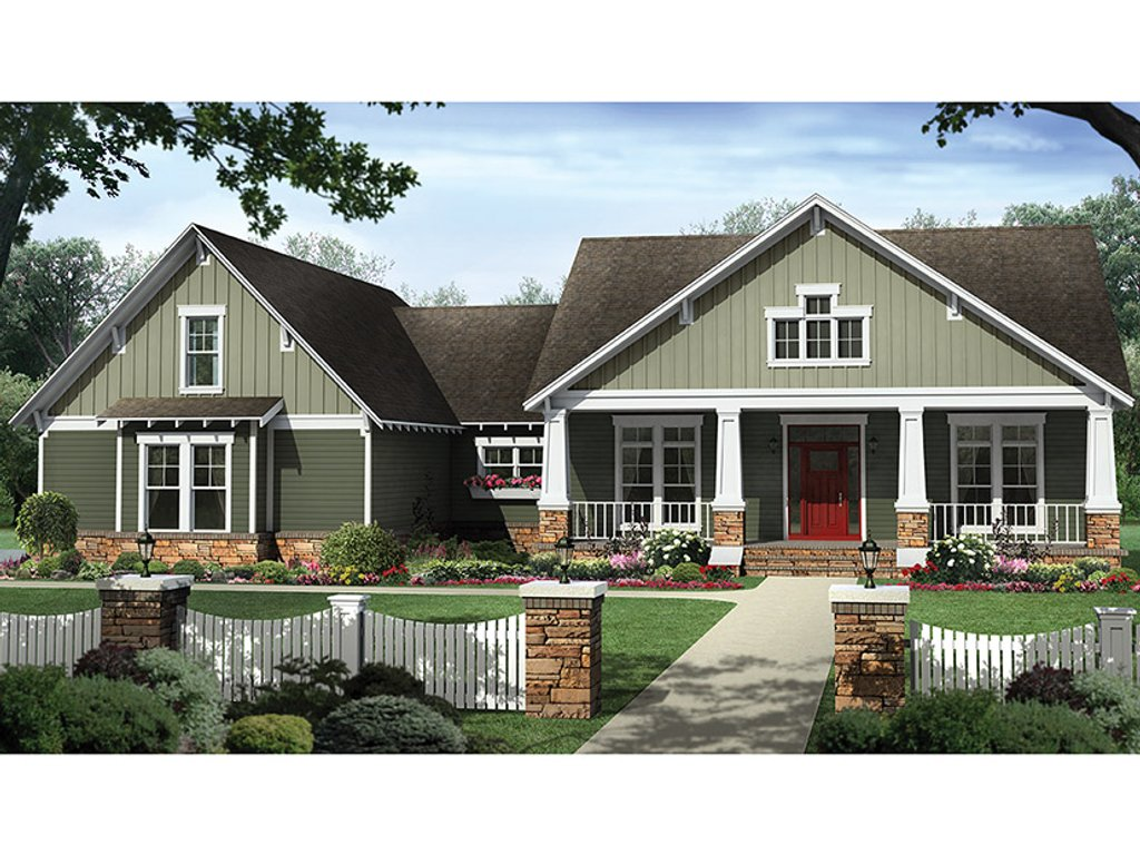 Craftsman style house plan 4 beds 2 5 baths 2199 sq ft for Craftsman style bed plans