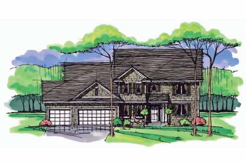 Colonial Exterior - Front Elevation Plan #51-1016