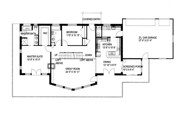 Craftsman Floor Plan - Main Floor Plan Plan #117-843
