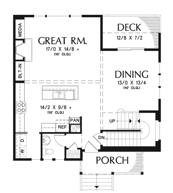 Architectural House Design - Craftsman Floor Plan - Main Floor Plan #48-911