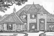 European Style House Plan - 4 Beds 3.5 Baths 3430 Sq/Ft Plan #310-332 Exterior - Front Elevation