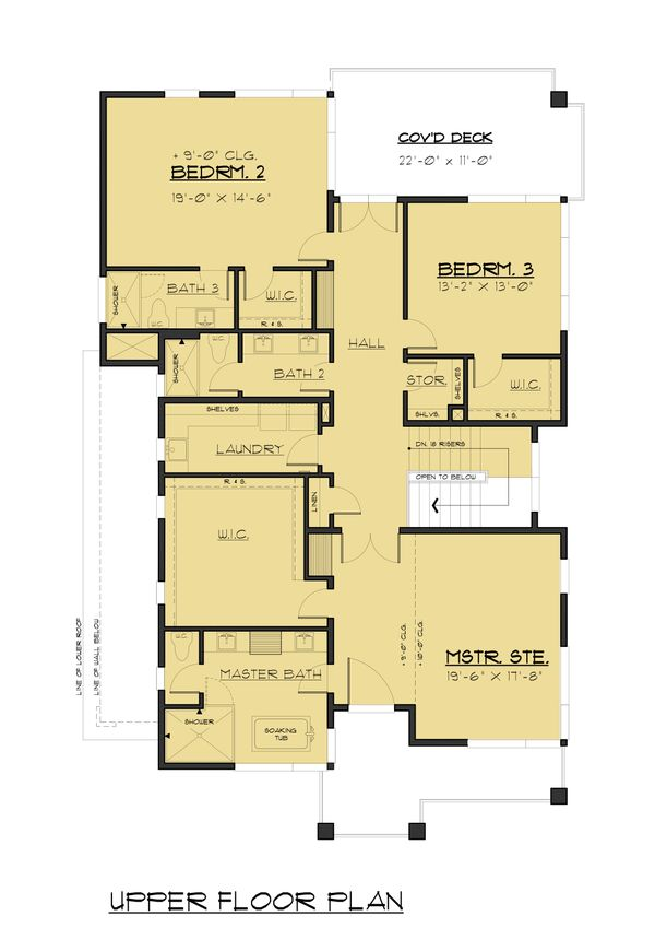 House Plan Design - Contemporary Floor Plan - Upper Floor Plan #1066-91