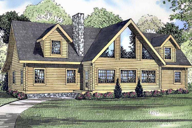 Log Exterior - Front Elevation Plan #17-3148 - Houseplans.com