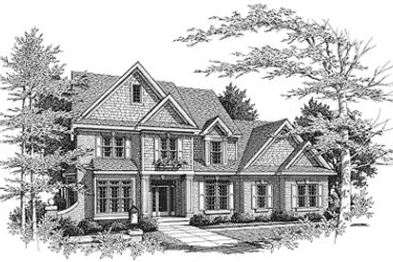 Traditional Style House Plan - 3 Beds 2.5 Baths 2717 Sq/Ft Plan #70-433 Exterior - Front Elevation