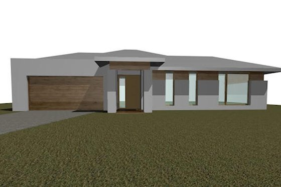 Modern Exterior - Front Elevation Plan #496-3