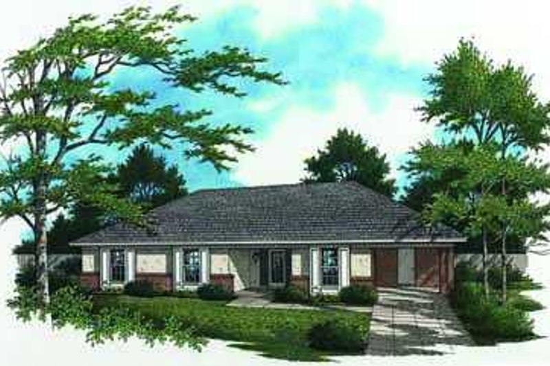 Ranch Style House Plan - 3 Beds 2 Baths 1212 Sq/Ft Plan #45-216 Exterior - Front Elevation
