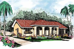Mediterranean Exterior - Front Elevation Plan #72-880