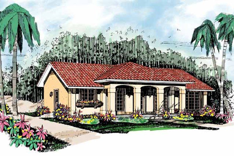House Plan Design - Mediterranean Exterior - Front Elevation Plan #72-880