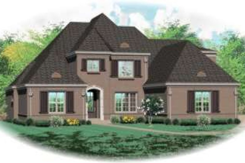 European Style House Plan - 5 Beds 4 Baths 4886 Sq/Ft Plan #81-1325 Exterior - Front Elevation