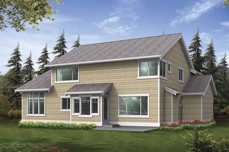 Craftsman Exterior - Rear Elevation Plan #132-363