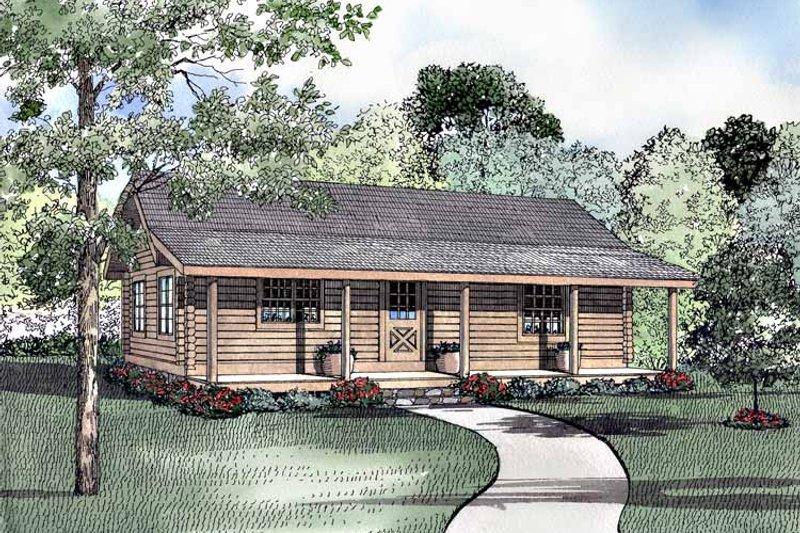 Log Exterior - Front Elevation Plan #17-2946