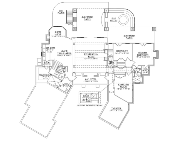 Craftsman Floor Plan - Lower Floor Plan Plan #945-140