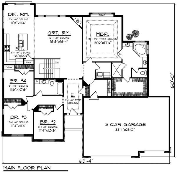 Ranch Floor Plan - Main Floor Plan Plan #70-1197