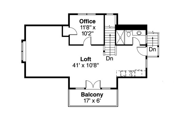 Craftsman Floor Plan - Upper Floor Plan Plan #124-1142
