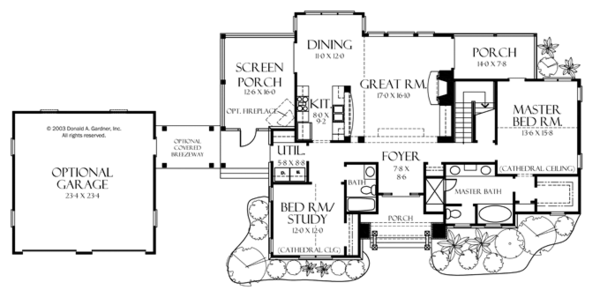 Craftsman Floor Plan - Main Floor Plan Plan #929-933