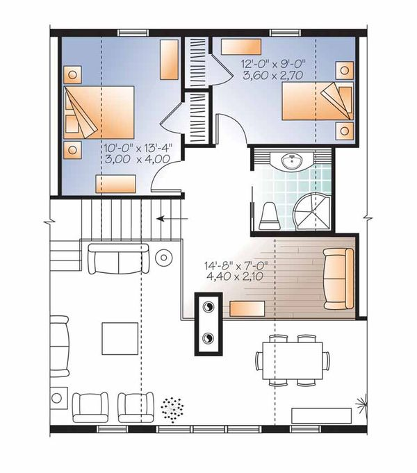 European Floor Plan - Upper Floor Plan Plan #23-2488