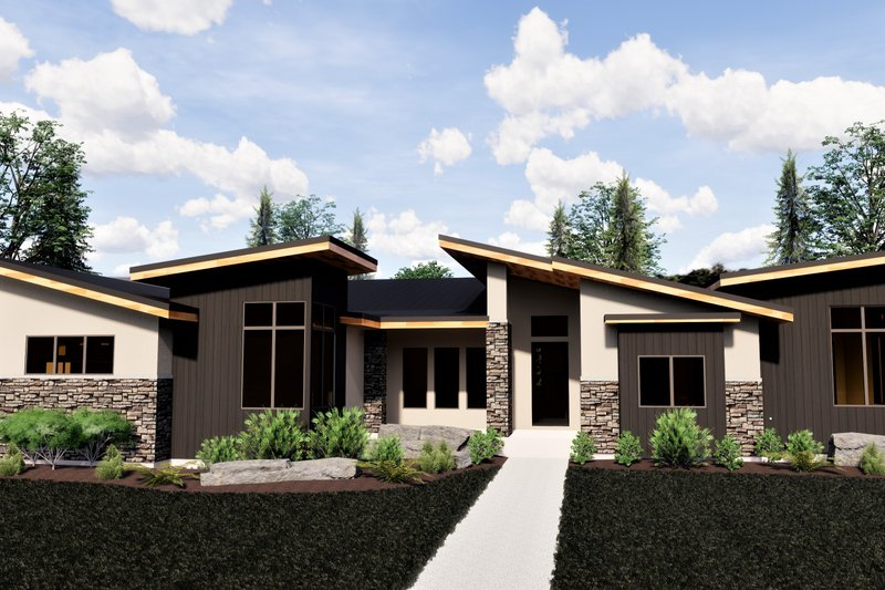 Contemporary Style House Plan - 5 Beds 3.5 Baths 4139 Sq/Ft Plan #920-15 Exterior - Front Elevation