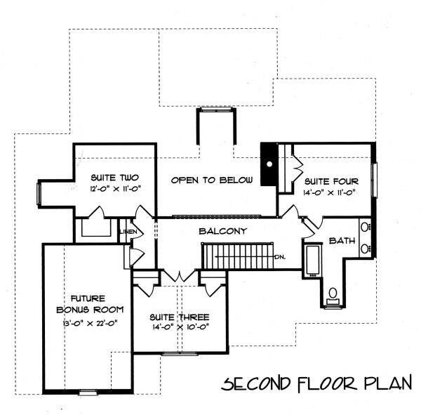 Tudor Floor Plan - Upper Floor Plan Plan #413-136