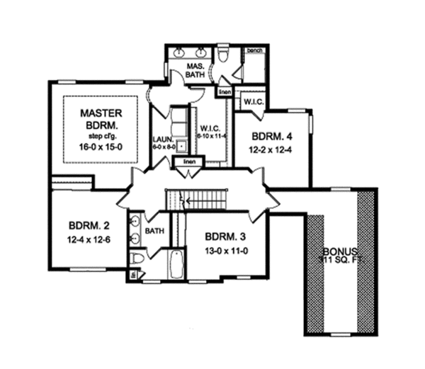 Traditional Floor Plan - Upper Floor Plan Plan #1010-135