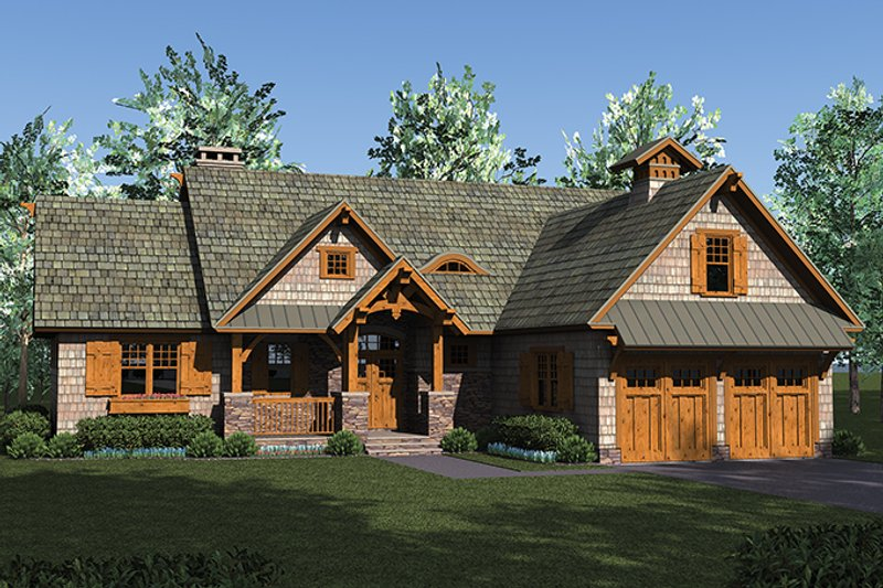 Architectural House Design - Craftsman Exterior - Front Elevation Plan #453-615