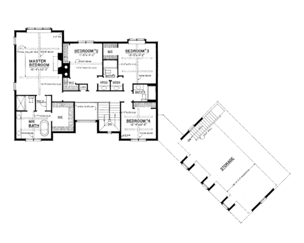 Craftsman Floor Plan - Upper Floor Plan Plan #1016-109