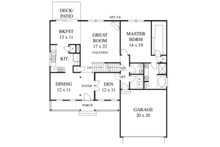 Colonial Floor Plan - Main Floor Plan Plan #1053-43