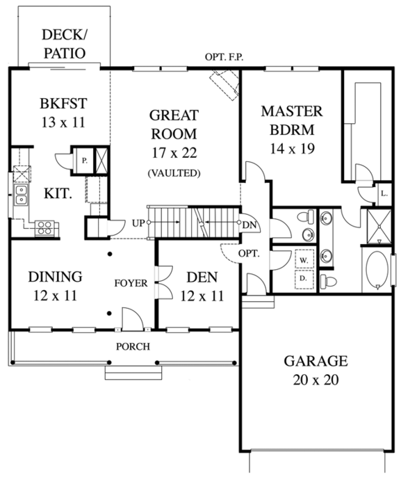 Colonial Floor Plan - Main Floor Plan Plan #1053-43