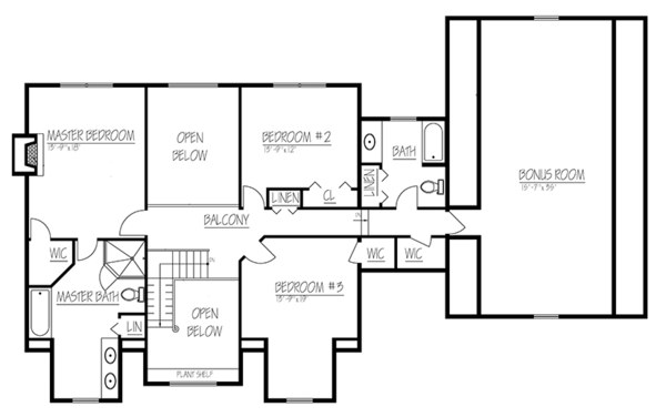 Colonial Floor Plan - Upper Floor Plan Plan #1061-4