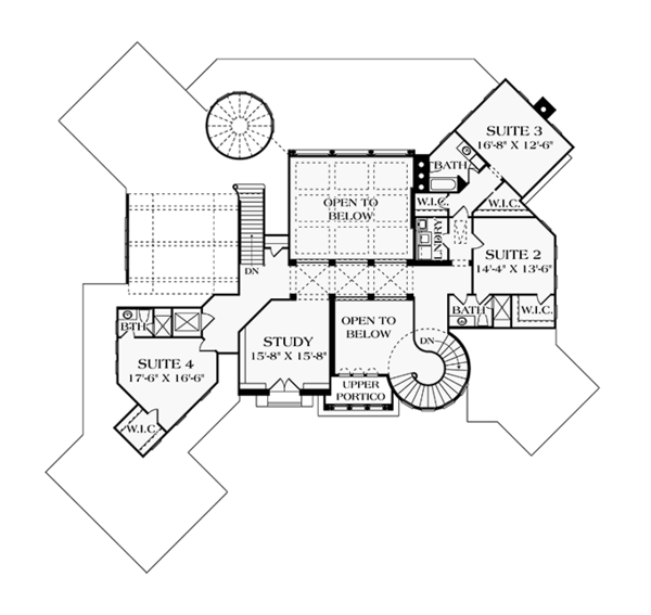 Mediterranean Floor Plan - Upper Floor Plan Plan #453-617