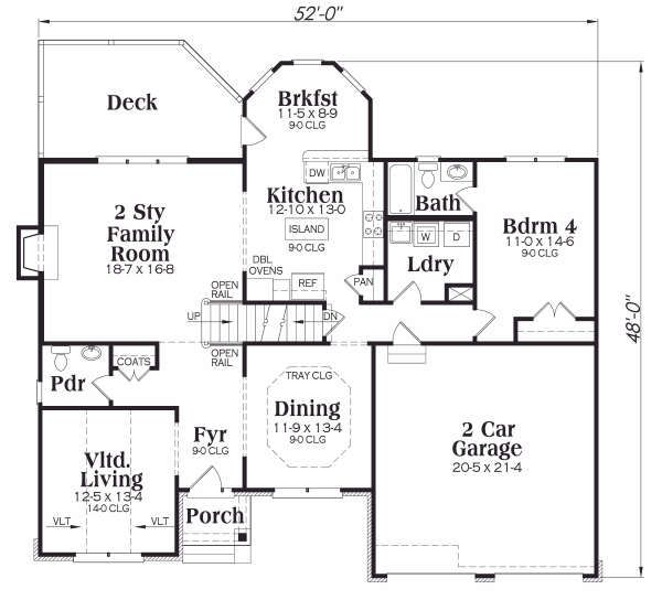 Craftsman Floor Plan - Main Floor Plan Plan #419-165