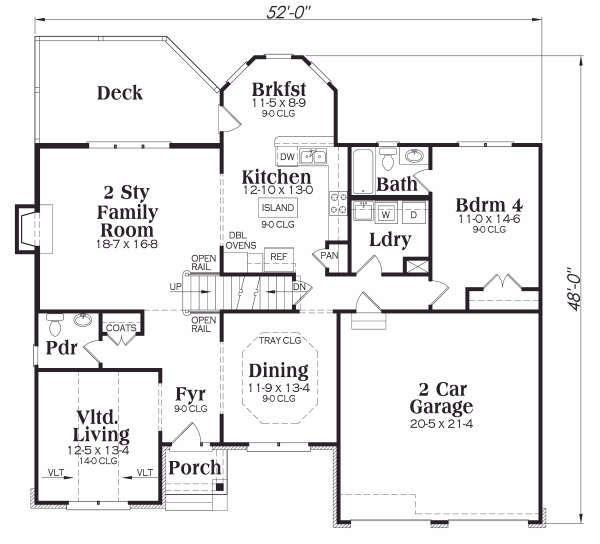 Craftsman Floor Plan - Main Floor Plan #419-165