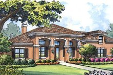 Dream House Plan - Mediterranean Exterior - Front Elevation Plan #417-313