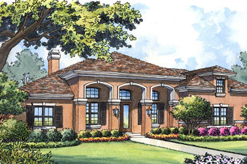 Mediterranean Style House Plan - 4 Beds 3 Baths 2258 Sq/Ft Plan #417-313