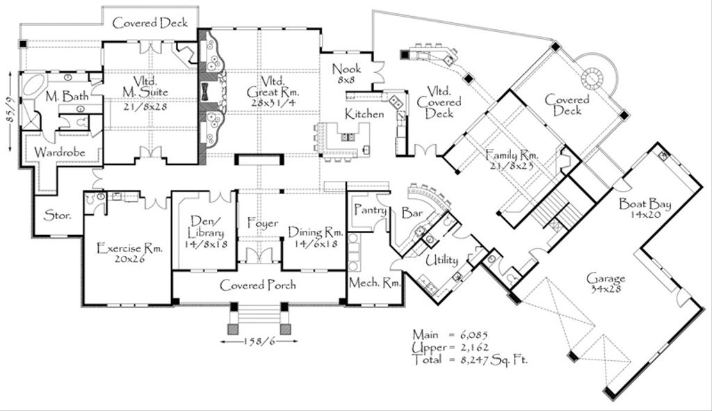 Craftsman style house plan 4 beds 4 5 baths 8247 sq ft for Big floor plans