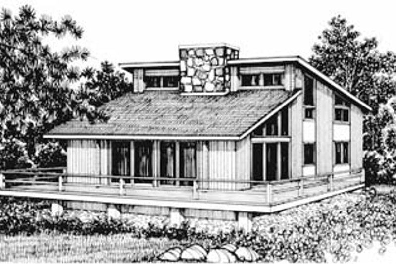 Modern Style House Plan - 3 Beds 2 Baths 1540 Sq/Ft Plan #12-125 Exterior - Front Elevation