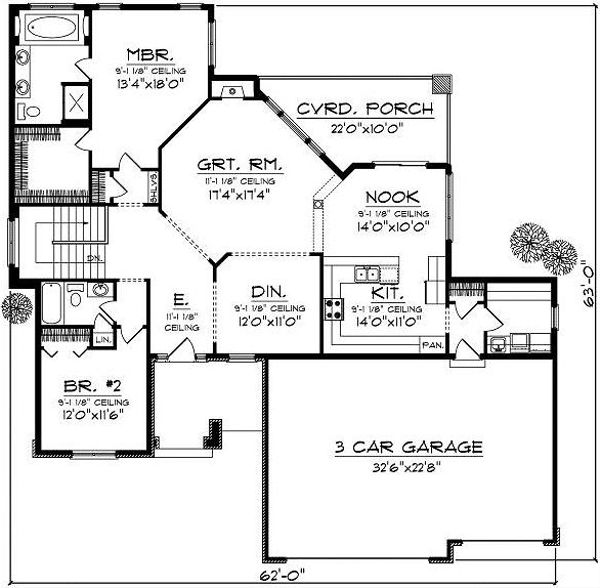 Traditional Floor Plan - Main Floor Plan Plan #70-865