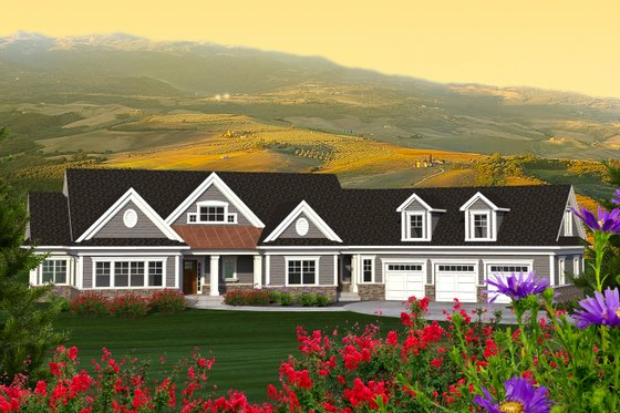 Ranch Exterior - Front Elevation Plan #70-1216