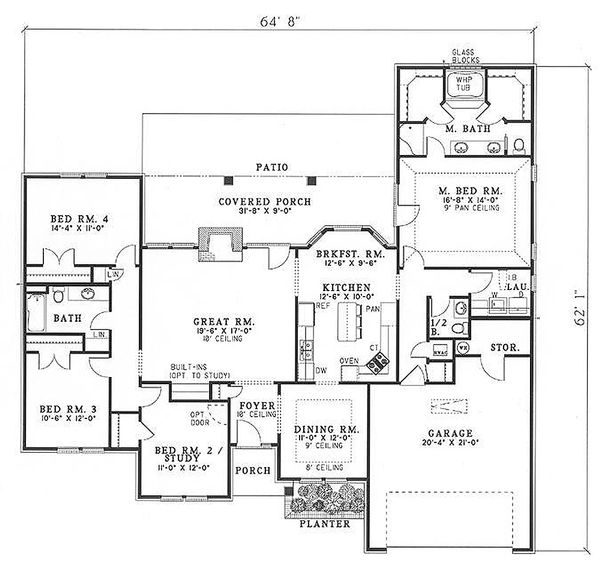 Dream House Plan - Traditional Floor Plan - Main Floor Plan #17-148