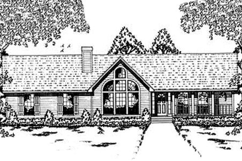 Contemporary Style House Plan - 4 Beds 2 Baths 1911 Sq/Ft Plan #42-132 Exterior - Front Elevation