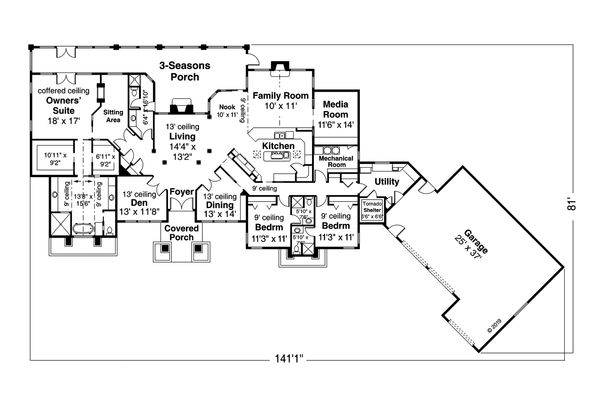 Home Plan Design - Prairie Floor Plan - Main Floor Plan #124-1160